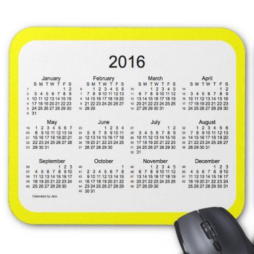 52 Weeks 2016 Calendar Yellow Mousepad