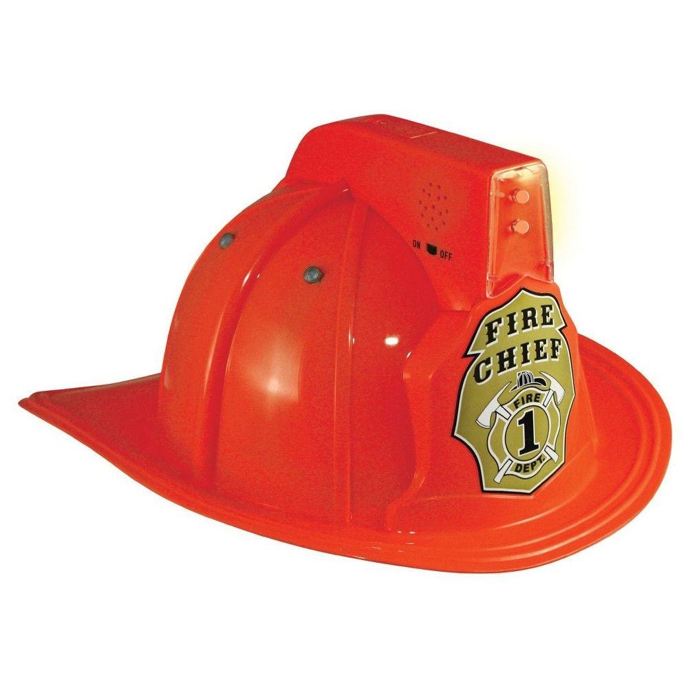 Halloween Jr. Fire Chief Child's Helmet with Lights, Kids Unisex, Red