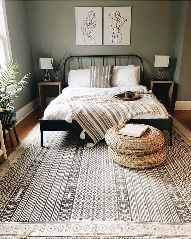 A Bedroom with A Beautiful Artwork