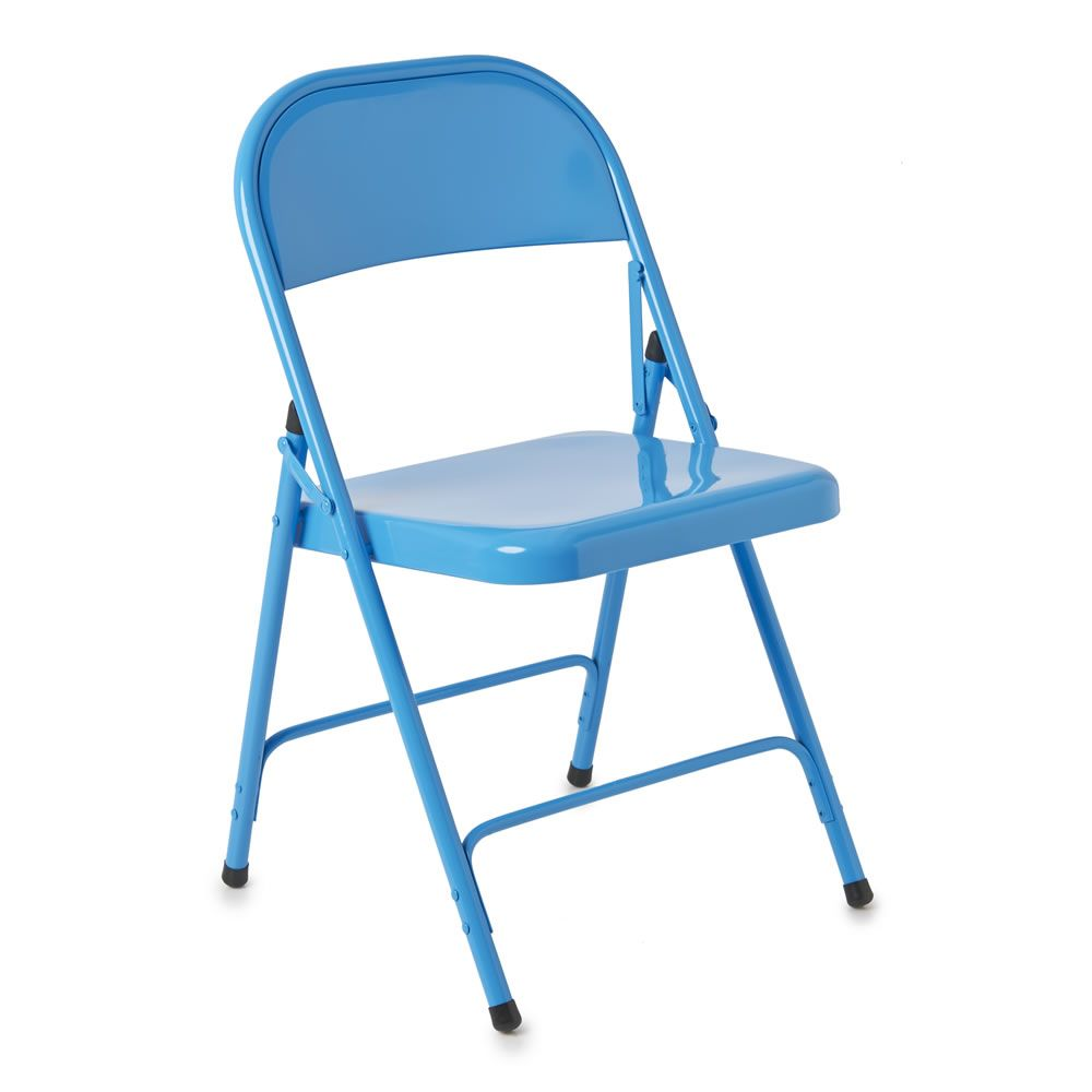 Rio Steel Folding Chair Blue Metal Folding Chairs