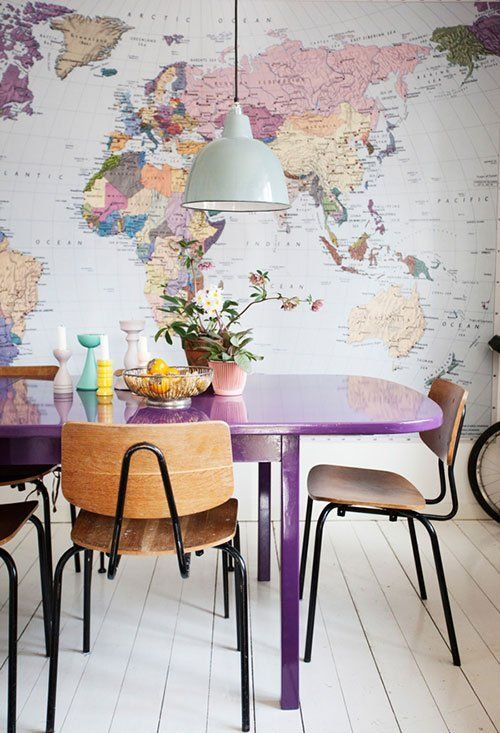 Look a huge world map and purple table in the dining room a huge world map and purple table in the dining room gumiabroncs Images
