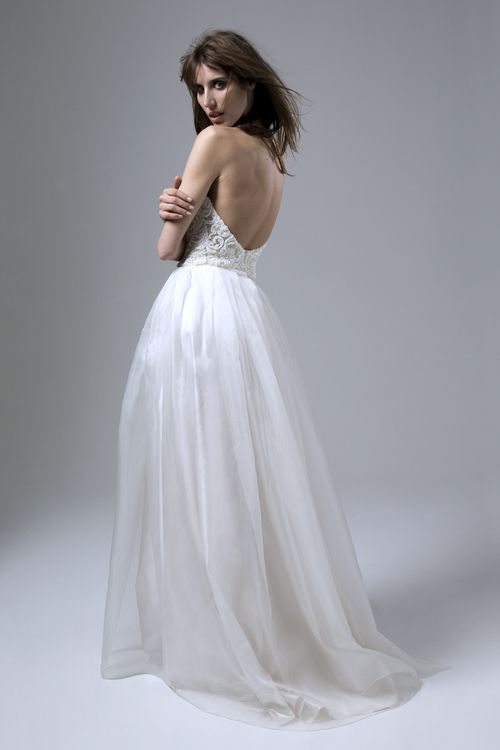 Back view of the Dita french lace beaded Corset and Lola long silk organza skirt by Halfpenny London