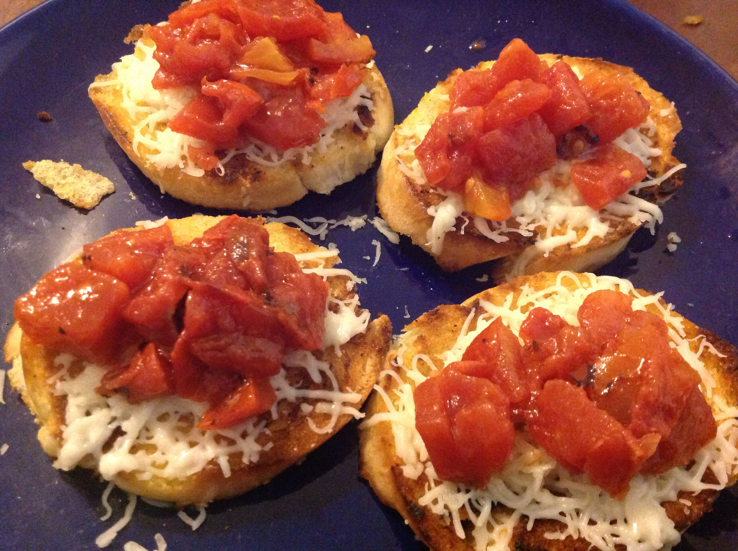 Bruschetta and mozzarella cheese with fire roasted tomatoes. Again I could only find western family cheese. Best if you use fresh maze really and fresh diced tomatoes. Fresh is always better!