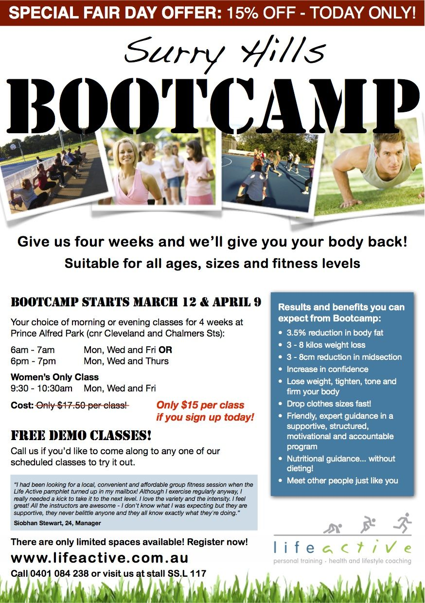 Bootcamp Flyer For Life Active Personal Training  Dropthatdonut