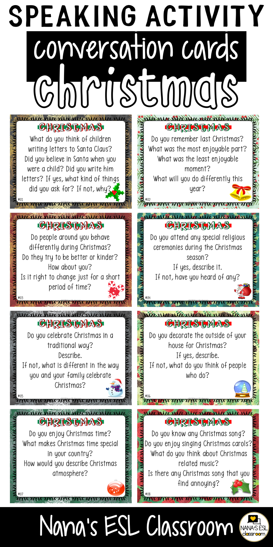 Conversation Starter Cards Christmas Holidays Speaking Skills Practice For English Conversation For Kids Speaking Activities Speaking Activities English