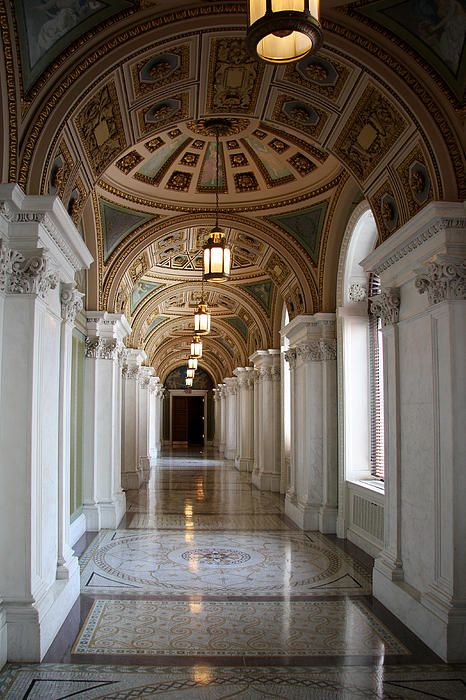 Hallway Library Of Congress Photograph - Hallway Library Of Congress Fine Art Print - Christiane Schulze