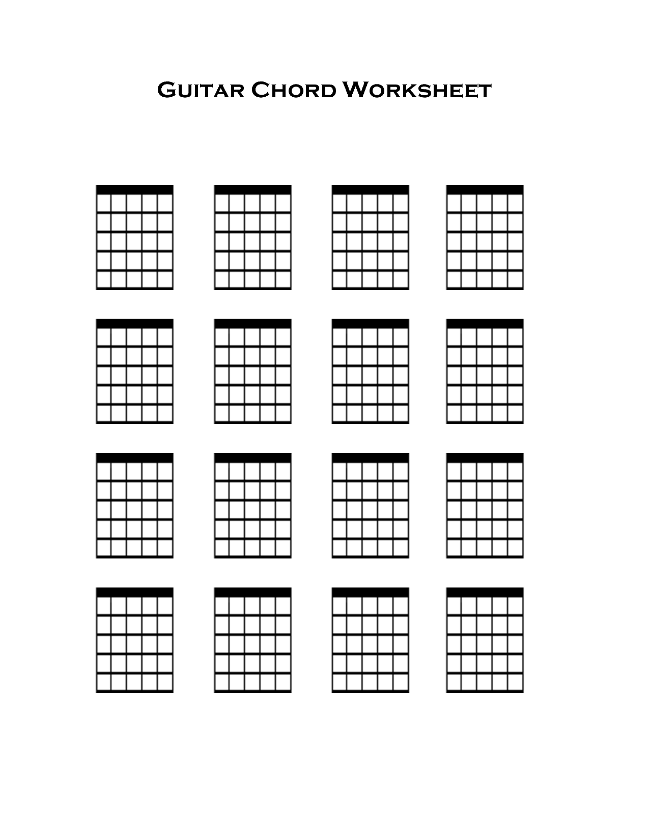 Blank Guitar Tab Sheets