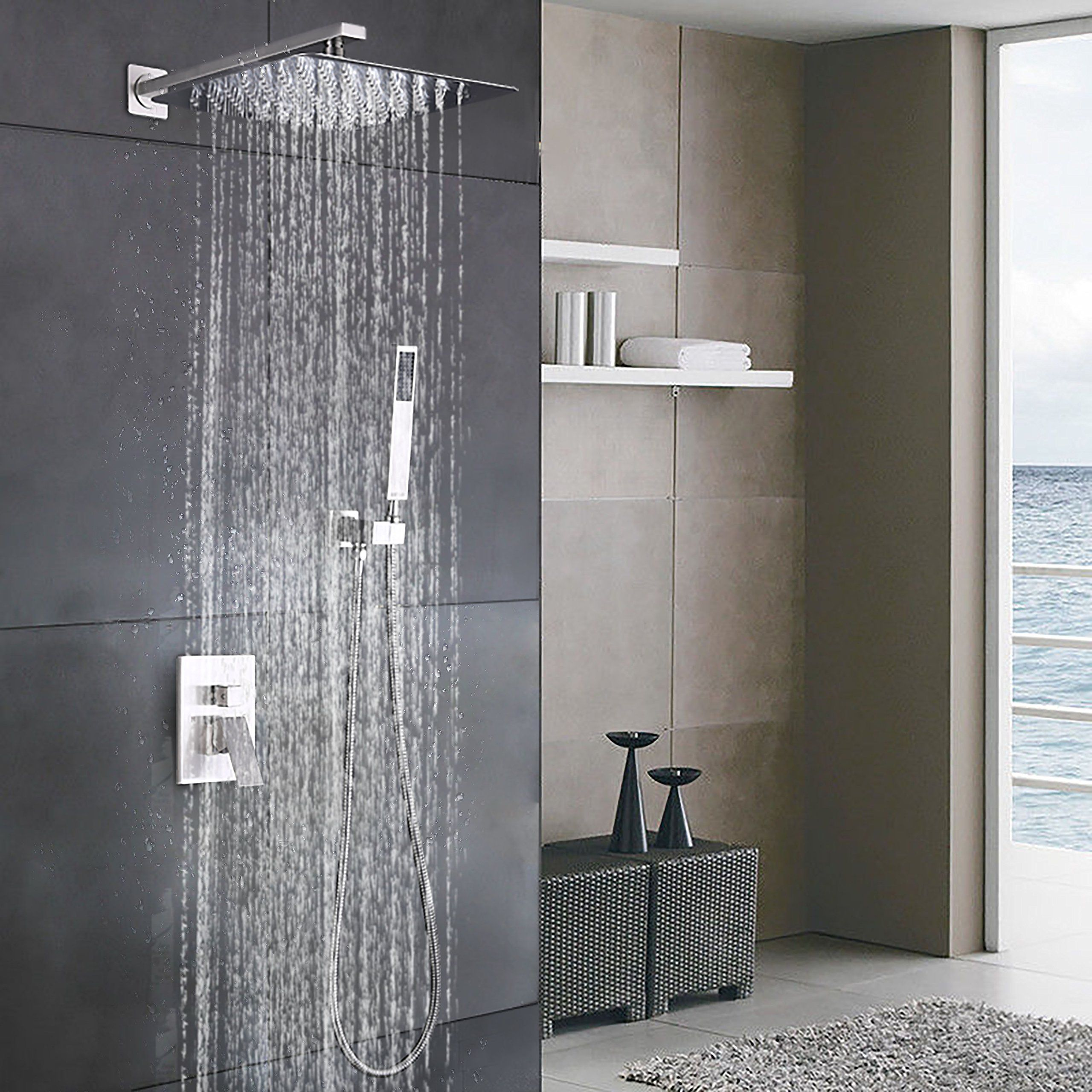 Esnbia Luxury Rain Shower Systems Wall Mounted Shower Combo Set With High  Pressure 12 Inch Square Rain Shower Head And Handheld Shower Faucet Set  Brushed ...