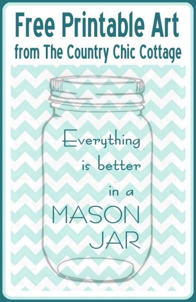 graphic regarding Free Printable Mason Jars named All the things is Improved inside of a Mason Jar Absolutely free Printable Artwork My