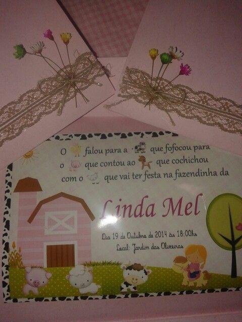 Convite-fazendinha rosa