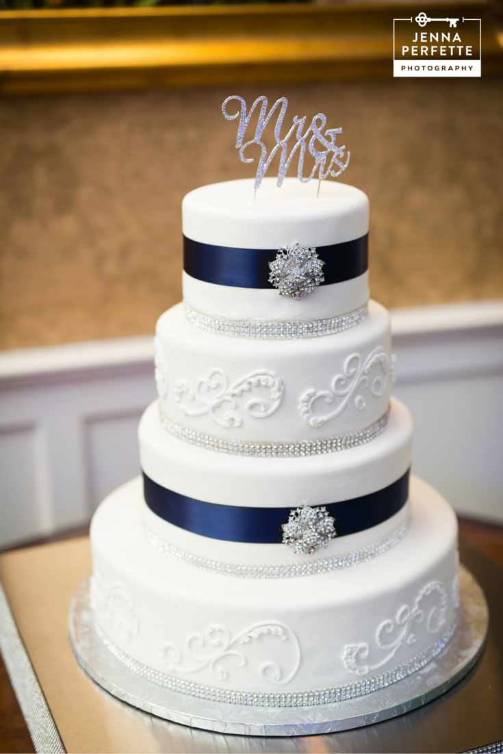 Jazz up a white wedding cake with bling and ribbon that matches your ...