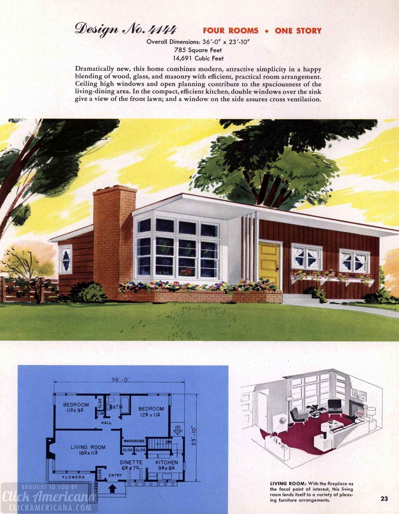 130 Vintage 50s House Plans Used To Build Millions Of Mid Century Homes We Still Live In Today Mid Century Modern House Plans Vintage House Plans Modern House Plans