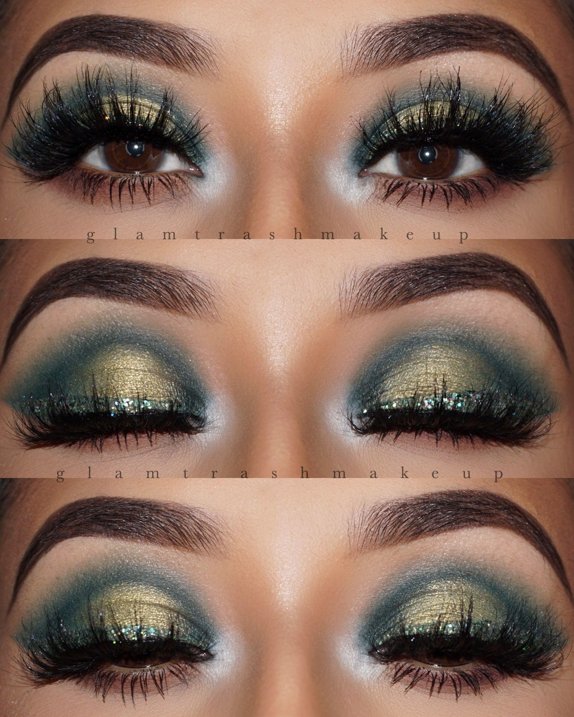 green eyeshadow forest green glitter eyeliner