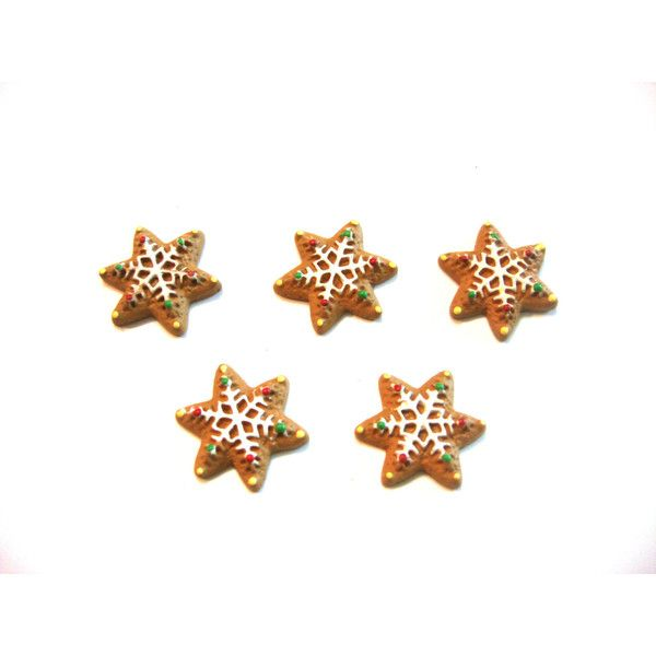 Christmas Star Gingerbread Cookie Embellishment for Decoden Flat