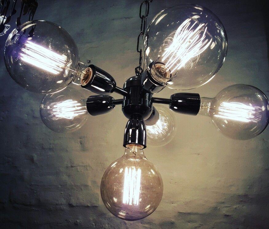 Colgante átomo en cromo con lámparas tipo Edison