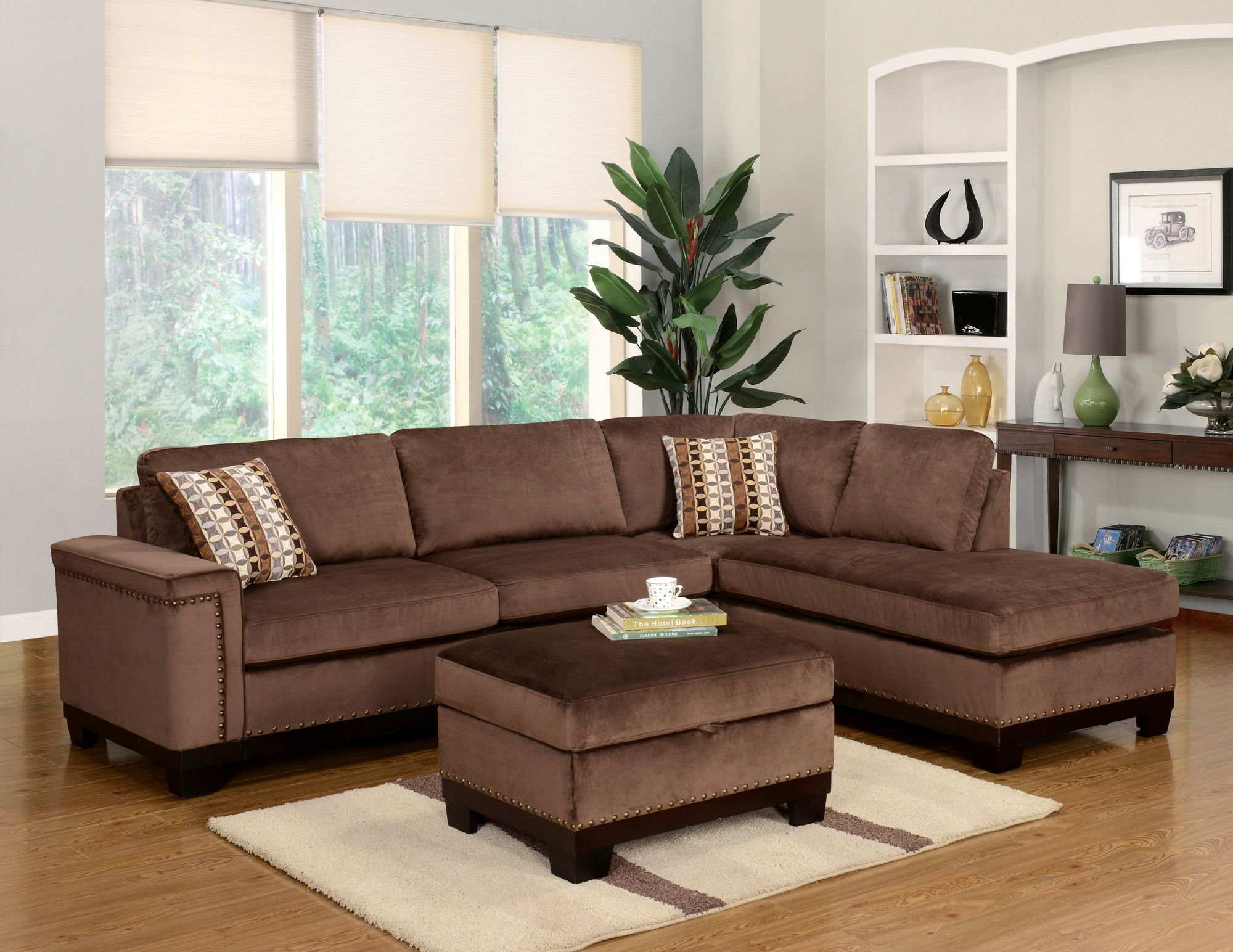 Opulence Right Hand Facing Sectional With Ottoman Brown