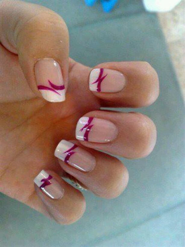 White tipped with red French nails.