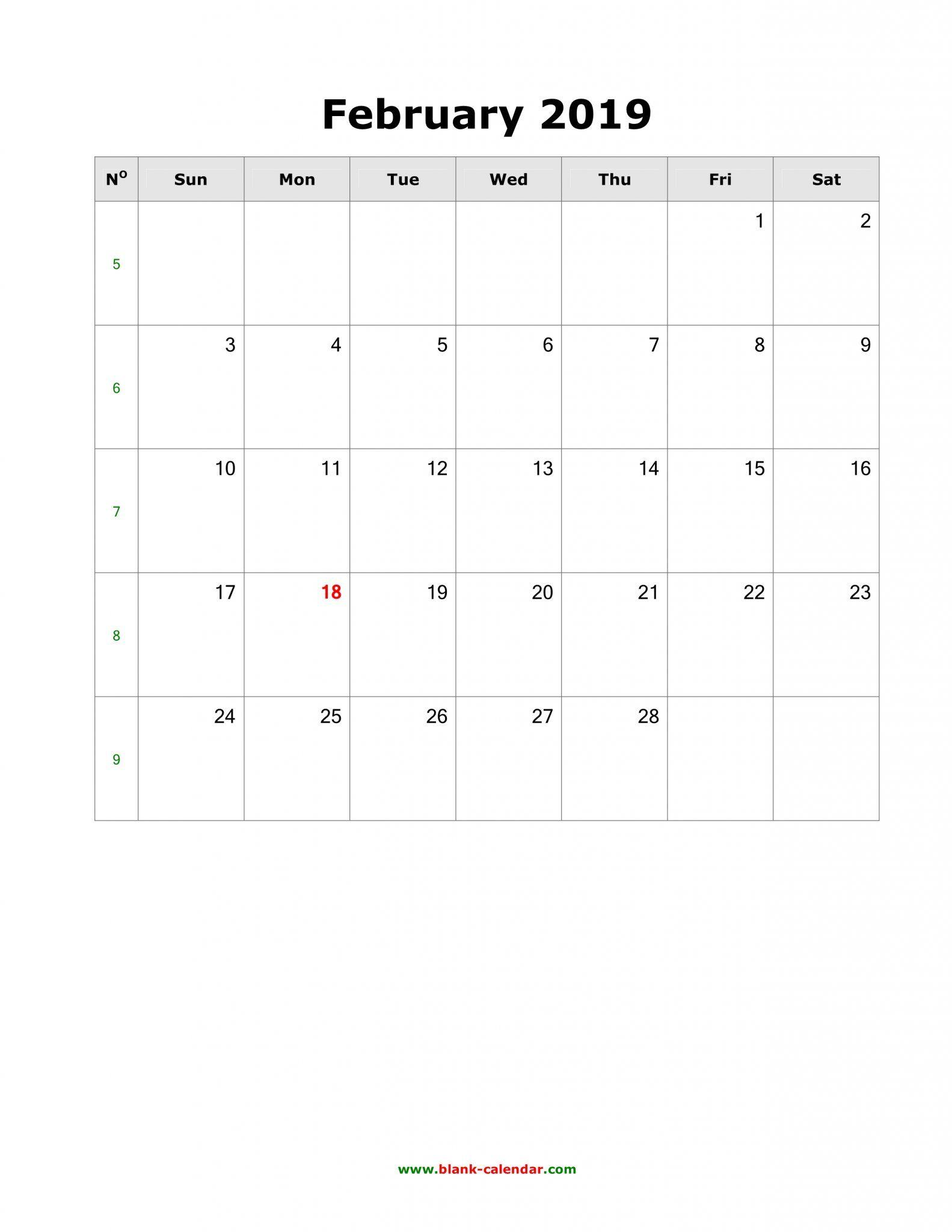 Full Size Printable February Calendar 2019 February 2019 Calendar A4 Size   Free Printable February 2019