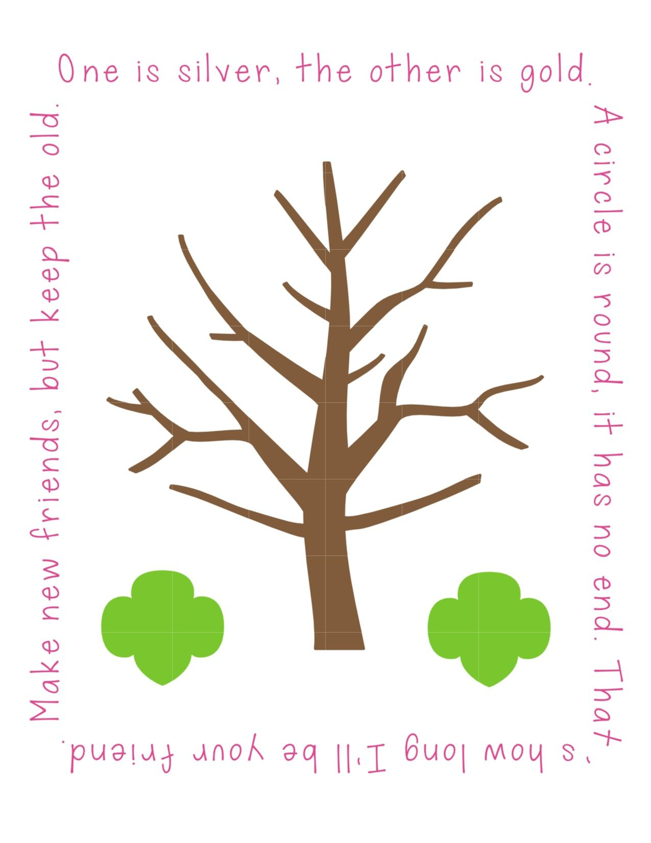 Friendship tree free printable use gold or silver ink for for Friendship tree template