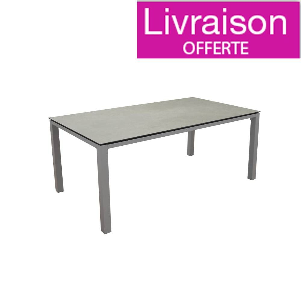 Table repas fixe STONEO Taupe/Basalt180x90 châssis alu et ...