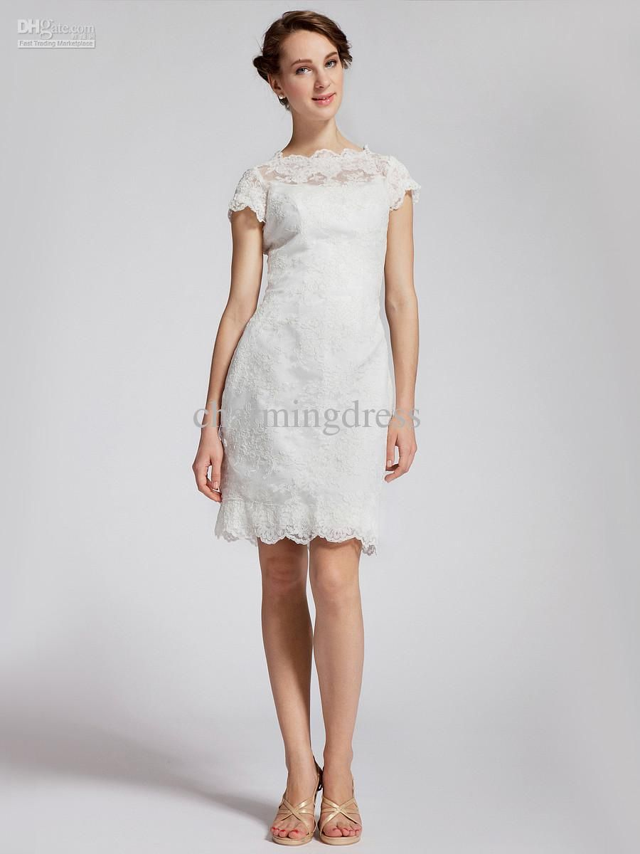 Wholesale free shipping knee length white lace dress for graduation
