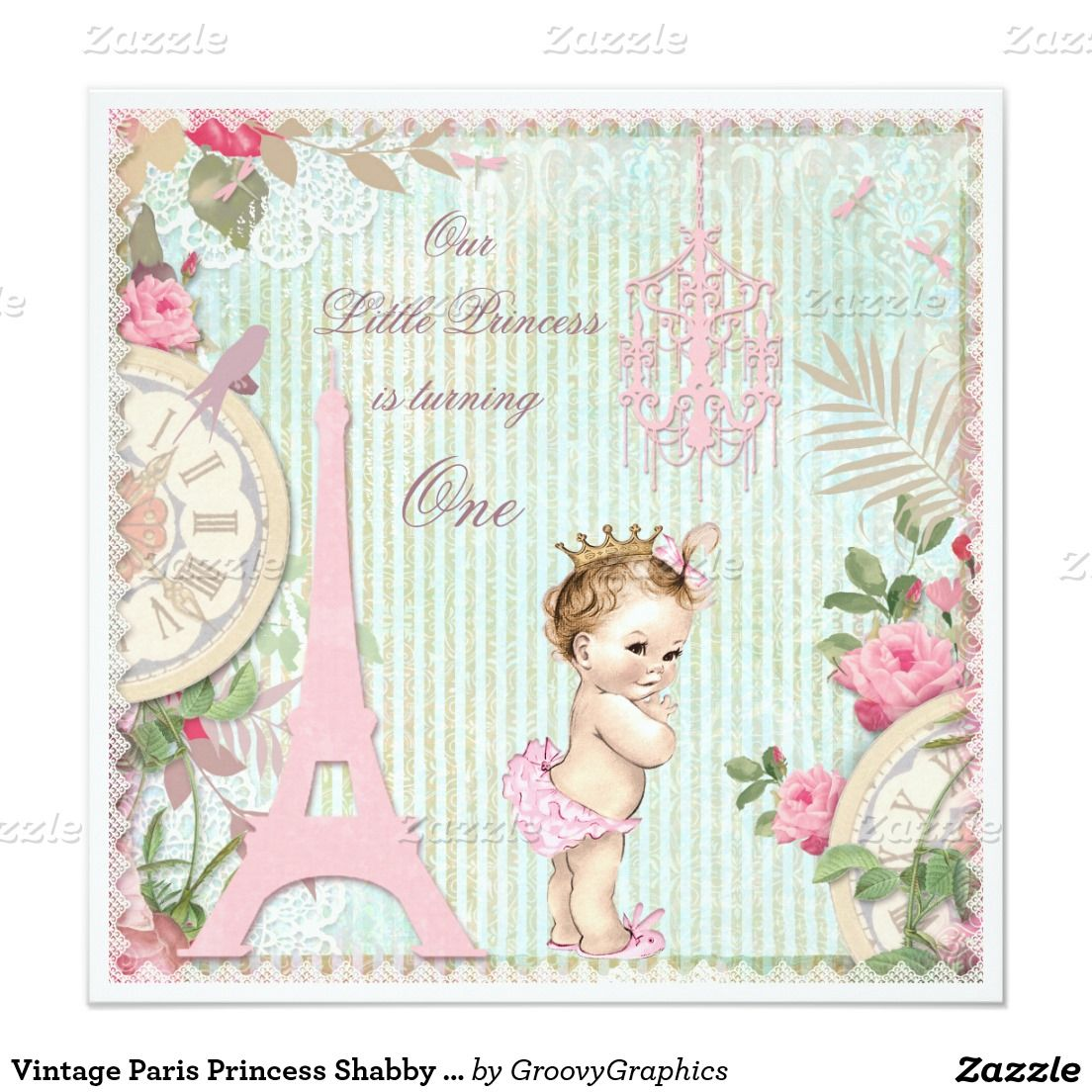 Vintage Paris Princess Shabby Chic 1st Birthday Card Shabby