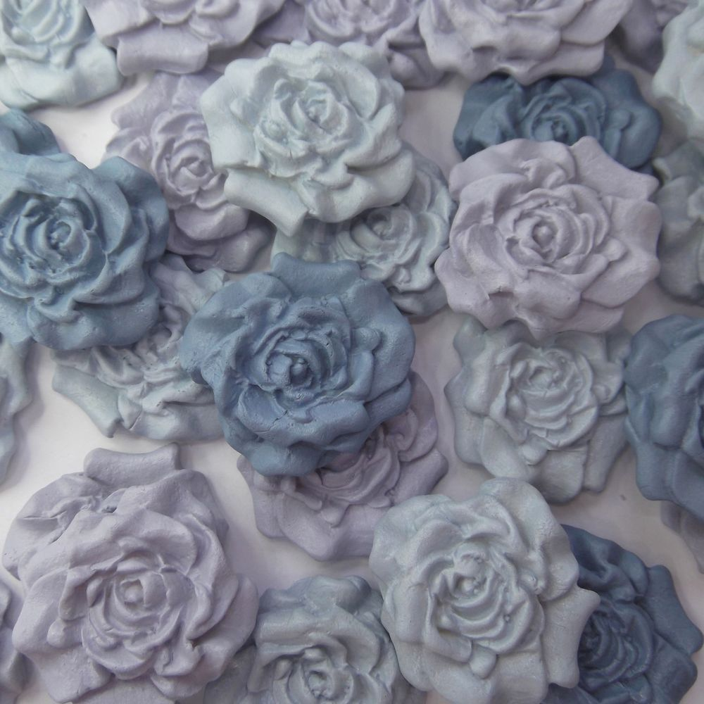 blue pale mix purple sugar roses edible sugarpaste flowers cake