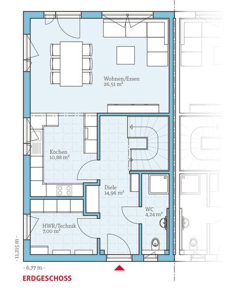 grundriss eg energiesparhaus doppelhaus 25 125 63 59 m2 doppelhaus grundrisse schmales. Black Bedroom Furniture Sets. Home Design Ideas