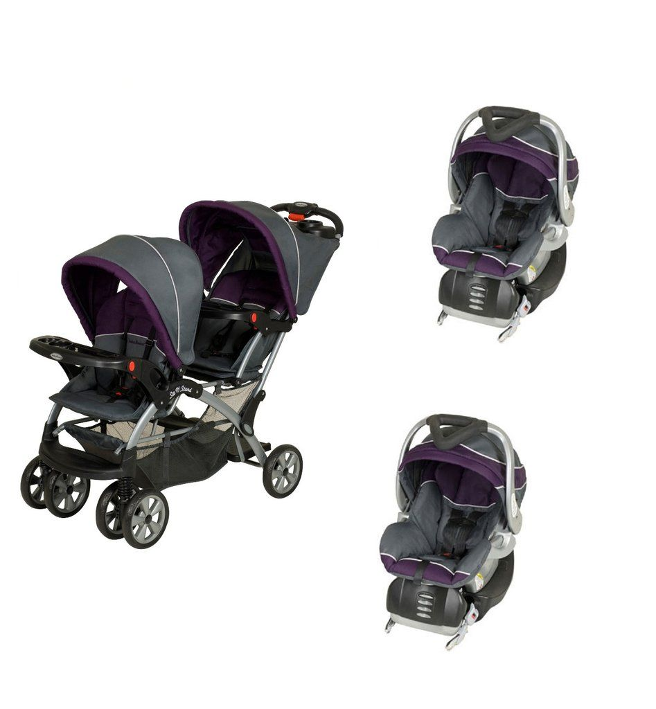 Purple Double Sit N Stand Twin Stroller Travel System With