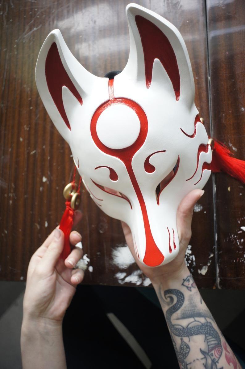 Fox Mask Kitsune Mask Cosplay Costume Japanese Mask Animal Etsy Japanese Mask Japanese Fox Mask Kitsune Mask