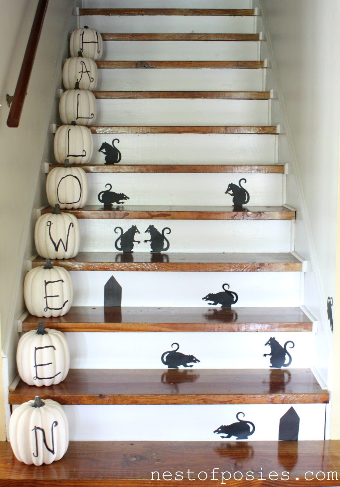 Dollar store mice on the staircase - how fun!!