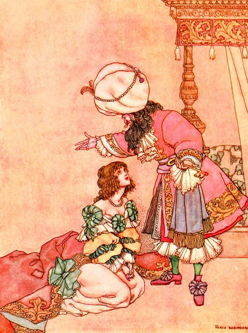 """""""You must die, madam,"""" W. Heath Robinson's Bluebeard illustration from Old Time Stories Told By Master Charles Perrault"""