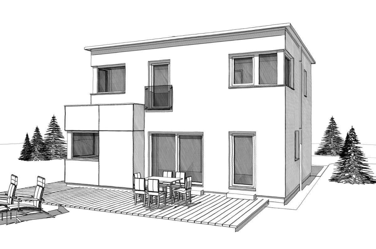 Grundriss Einfamilienhaus mit Büro Anbau und Satteldach