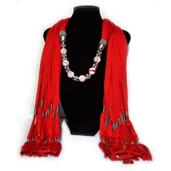 Wholesale 1pcs red acrylic scarves necklace pashmina soft scarf wholesale 1pcs red acrylic scarves necklace pashmina soft scarf pendant free aloadofball Image collections