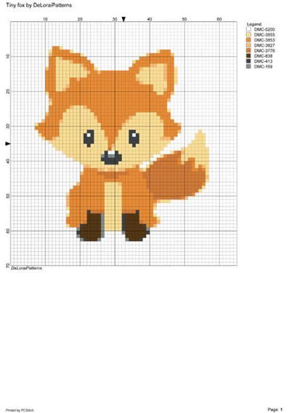 Photo of Little fox cross stitch pattern. Children's room cross stitch, newborn gift, …