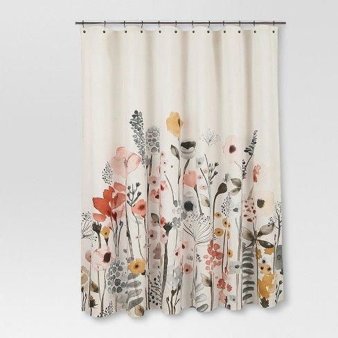 Shower Curtain Floral Wave Threshold Target Shower Curtains