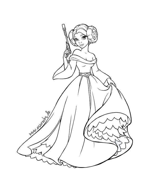 Star Wars Princess Leia Coloring Pages Google Search Star Wars Colors Star Wars Cartoon Princess Coloring Pages