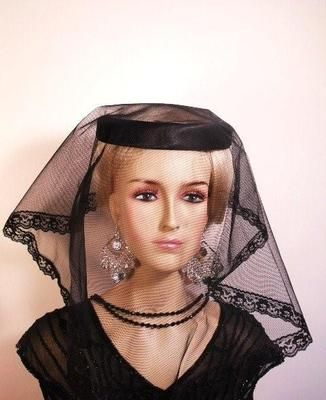 Black Satin Lace Veiled Mourning Funeral Hat Women s Designer Hats ... 935580943aa