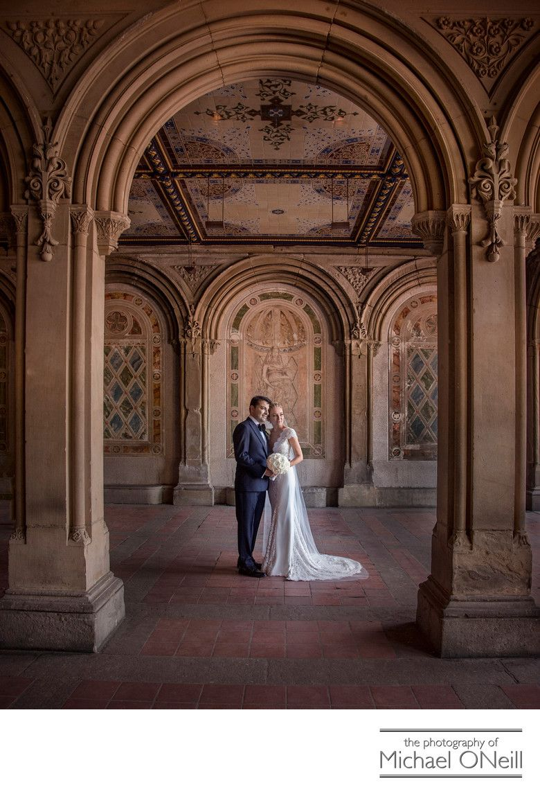 Central Park wedding pictures Bethesda Terrace arches NYC Long ...