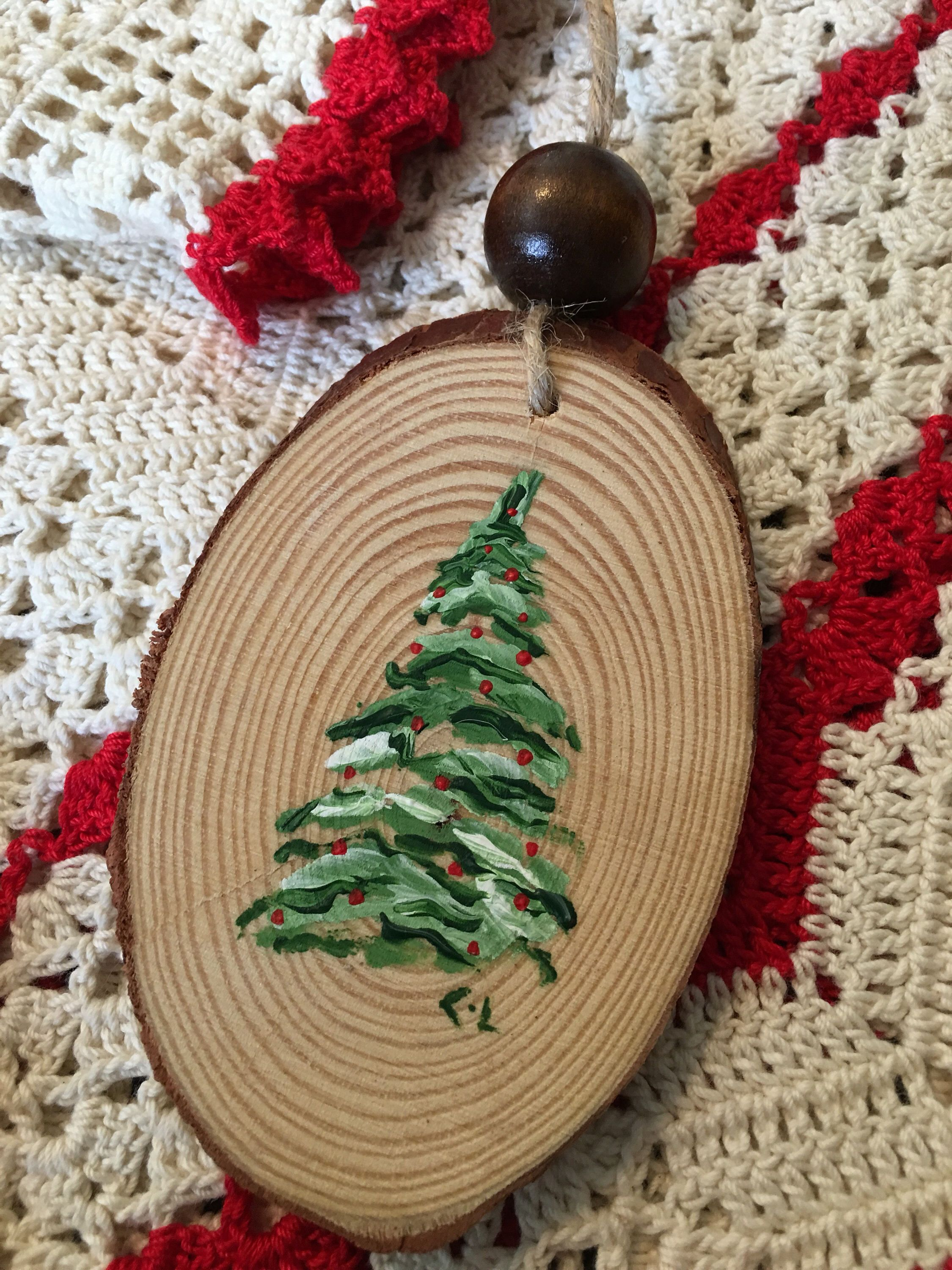 Christmas Ornament Hand Painted Wood Slice Christmas Tree Decoration Holiday Decor Winter Holiday Lamp Pull Rustic Decor Cerenalevene Christmas Tree Painting Christmas Ornament Crafts Christmas Ornaments To Make