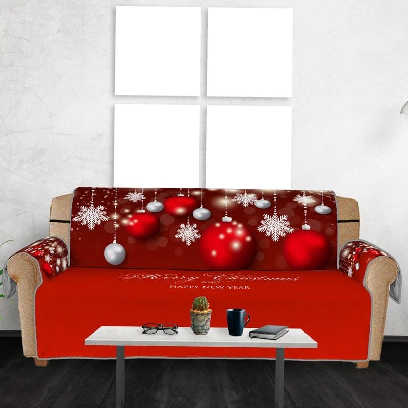 Red Christmas Ball Pattern Print Sofa Pad Couch covers
