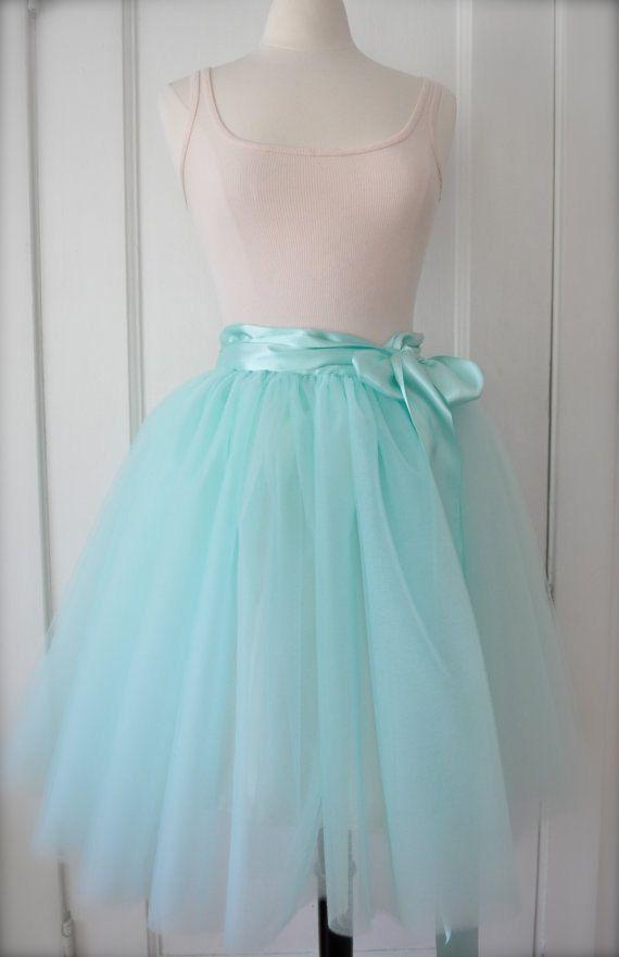 adadb7b2e35 Sea Glass Tutu - Romantic Aqua Ballerina Tulle Skirt with Lining and Satin  Sash by Anjou - Whimsical Wedding