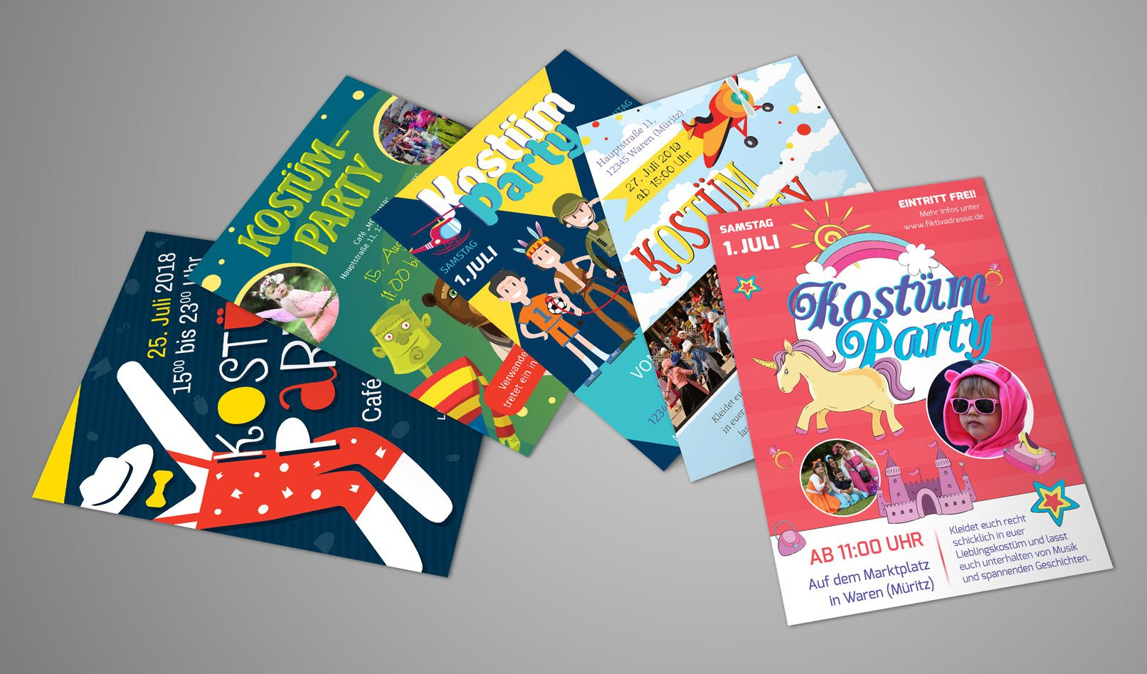 Flyer-Vorlagen für Kinderfest, Fasching und Kostümparty