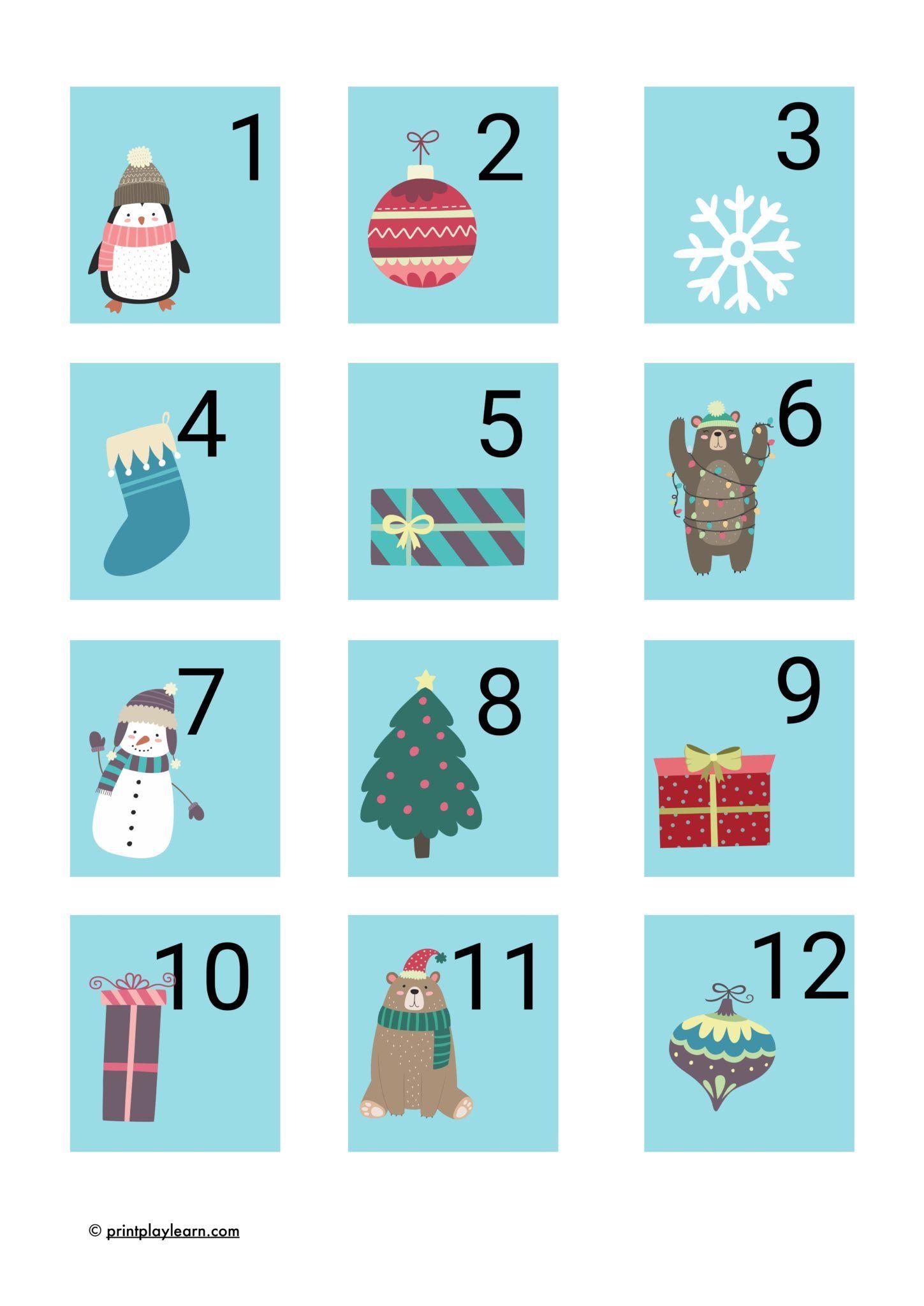 Advent Calendar Numbers 1-24 Christmas - Free Teaching ...