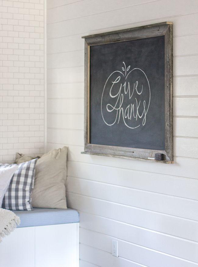 Give thanks word art, pumpkin or apple design on chalkboard ...