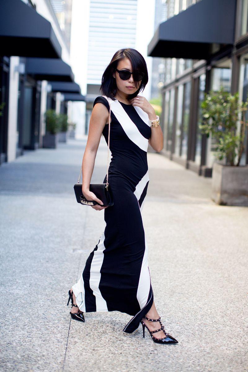 Outfit Curvilinear Black White Fashion Black Print Dress Wear Black Dresses [ 1200 x 800 Pixel ]