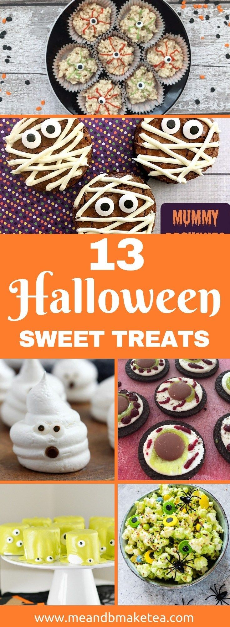 13 Halloween Sweet Treats That are Easy to Make! 13 Halloween Sweet Treats That are Easy to Make!    Try out these super easy cakes, biscuits, cookies, treats and more for Halloween this year. Great for a party or for the kids lunchbox.    Fun for adults too!