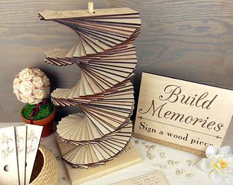 Tower Build Memories Wedding Guest Book Custom By Giftsourpion