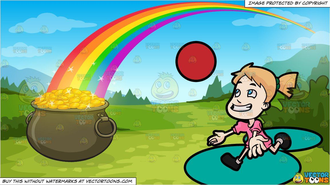 Clipart Cartoon A Female Toddler Playing Catch The Ball And Pot