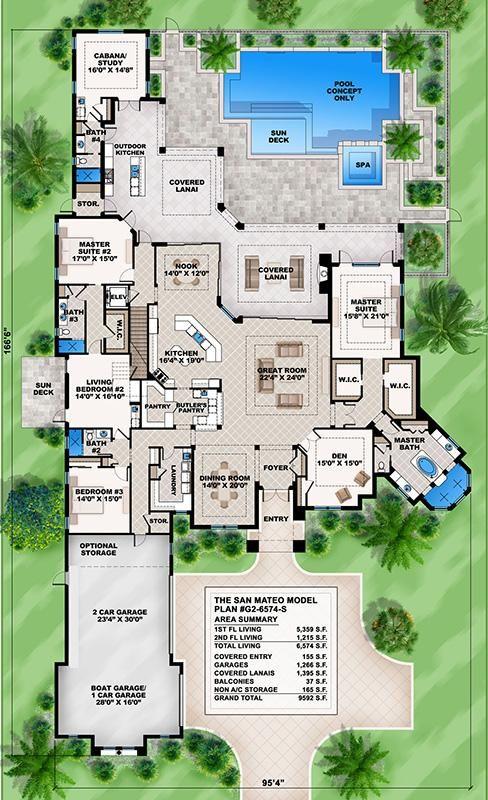 House Plan 207 00021 Mediterranean Plan 6 574 Square Feet 6 7 Bedrooms 6 Bathrooms 6 Bedroom House Plans Dream House Plans New House Plans